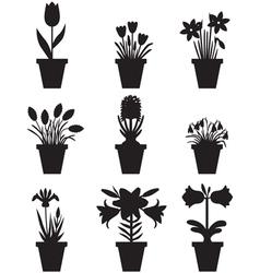 Flower pot black vector