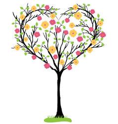 Tree heart shaped vector