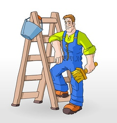 Painter painting with ladder vector