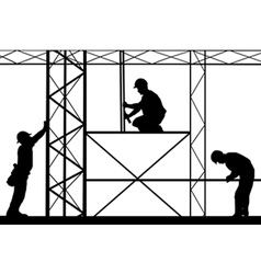 Workers on site vector