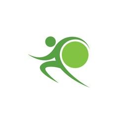 Green sportman and world vector