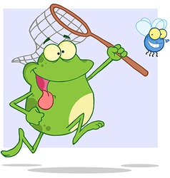 Frog chasing fly with a net vector