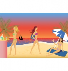 Girls beach party vector
