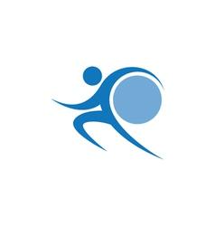 Blue sportman and world vector
