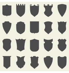 Set of blank empty dark shields shield badge vector