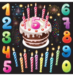 Happy birthday cake numbers and firework vector