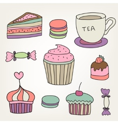 Set of cute colorful hand drawn sweets cakes vector