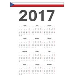 Simple czech 2017 year calendar vector