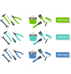 Set of tools icons three colors vector