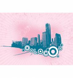 Retro city with circles vector