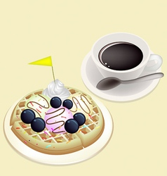 Hot coffee with waffle and ice cream vector