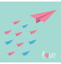 Big pink paper plane with small planes love card vector