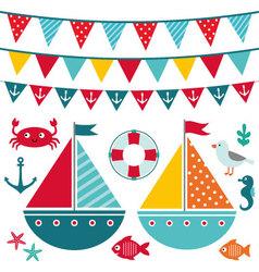 Sea elements and decoration set vector