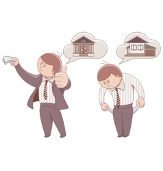 Two cartoon men mortgage to buy a home vector
