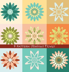 9 pattern abstract flower vector