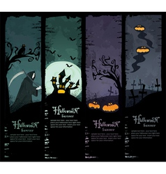 Set of four halloween banners vector