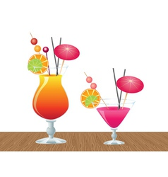 Cocktail on wood table vector