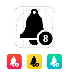 Ringing bell with number icon vector