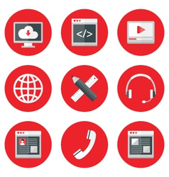 Website icons set over red vector