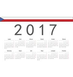 Rectangle czech 2017 year calendar vector