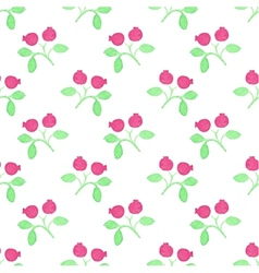 Seamless watercolor pattern with cranberries on vector