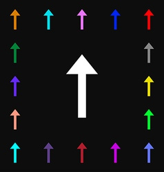 Direction arrow up icon sign lots of colorful vector