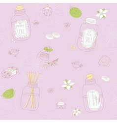 Sweet seamless pattern with sketchy spa stuff vector