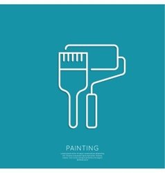 Brush and paint roller vector