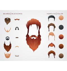Beards and mustaches hairstyles constructor vector