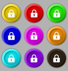 Pad lock icon sign symbol on nine round colourful vector