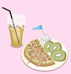 Lemon iced tea with tradition belgian waffle vector