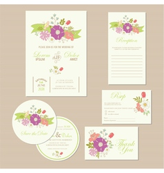 Wedding set with ribbon vector