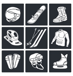 Winter sports icon collection vector