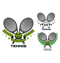 Emblems of crossed tennis rackets with balls vector