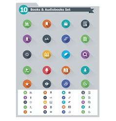Flat e-book icon set vector