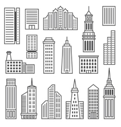 Skyscrapers icons modern gray silhouettes of vector