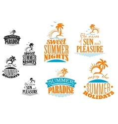 Set of summer vacation icons vector