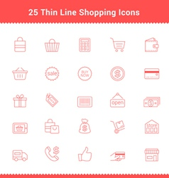 Set of thin line stroke shopping icons vector