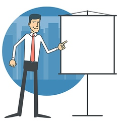 Businessman pointing at a blank chart vector