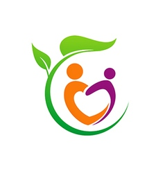 Eco people love vegetarian logo vector