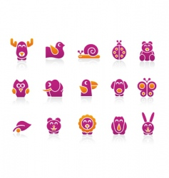 Stylized animals 2 colors vector