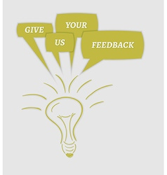 Give us your feedback speech bubbles and bulb vector