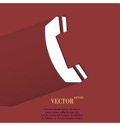 Phone flat modern web button with long shadow and vector