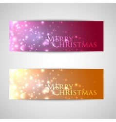 Set of elegant christmas banners with sparkles vector