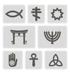 Monochrome icons with symbols of religion vector