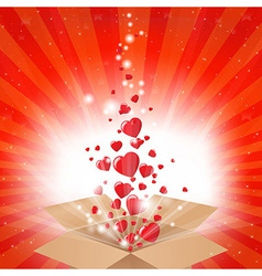 Gift box with stars and hearts vector