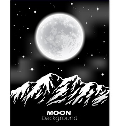 Full moon over mountains night landscape vector