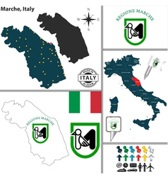 Map of marche vector