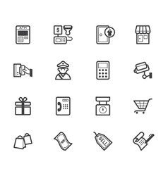 Market store black icon set on white background vector