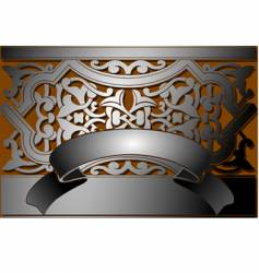 Steel banner classic style vector